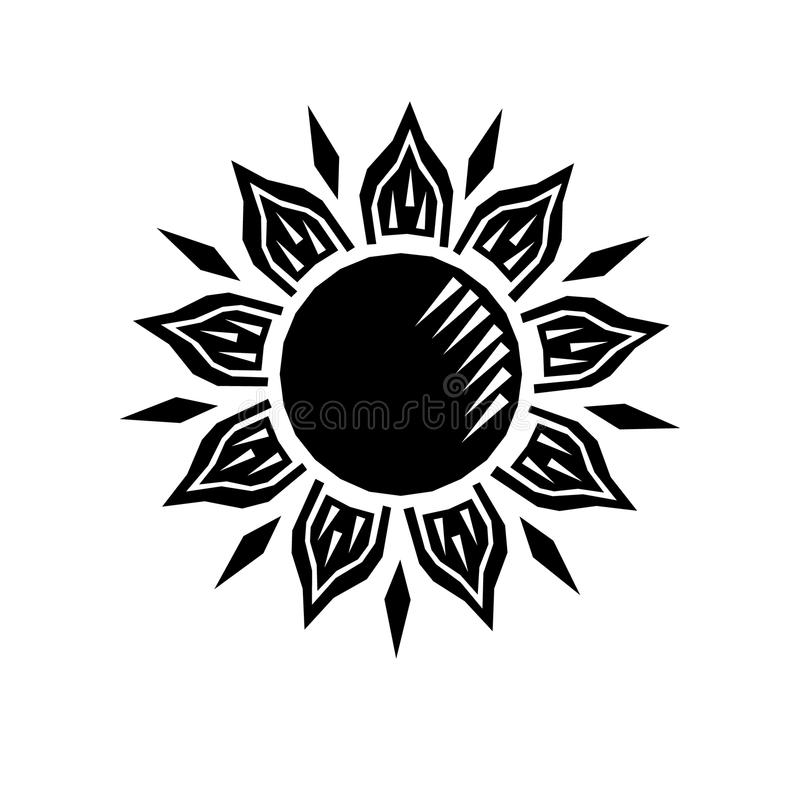 Rétro gravure de gravure sur bois noire et blanche en soleil, vecteur illustration de vecteur