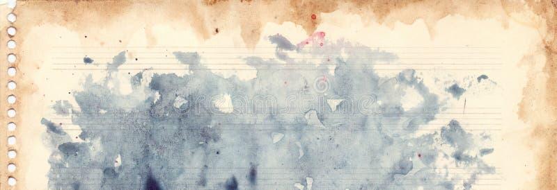 Rétro grunge de texture de fond de feuille de musique d'aquarelle de vintage illustration stock
