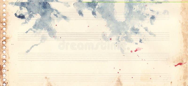 Rétro grunge de texture de fond de feuille de musique d'aquarelle de vintage illustration libre de droits