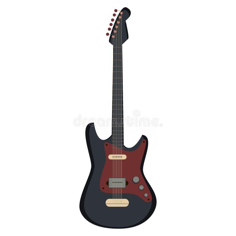 Rétro guitare électrique d'isolement sur le fond blanc, illustration de vecteur illustration de vecteur
