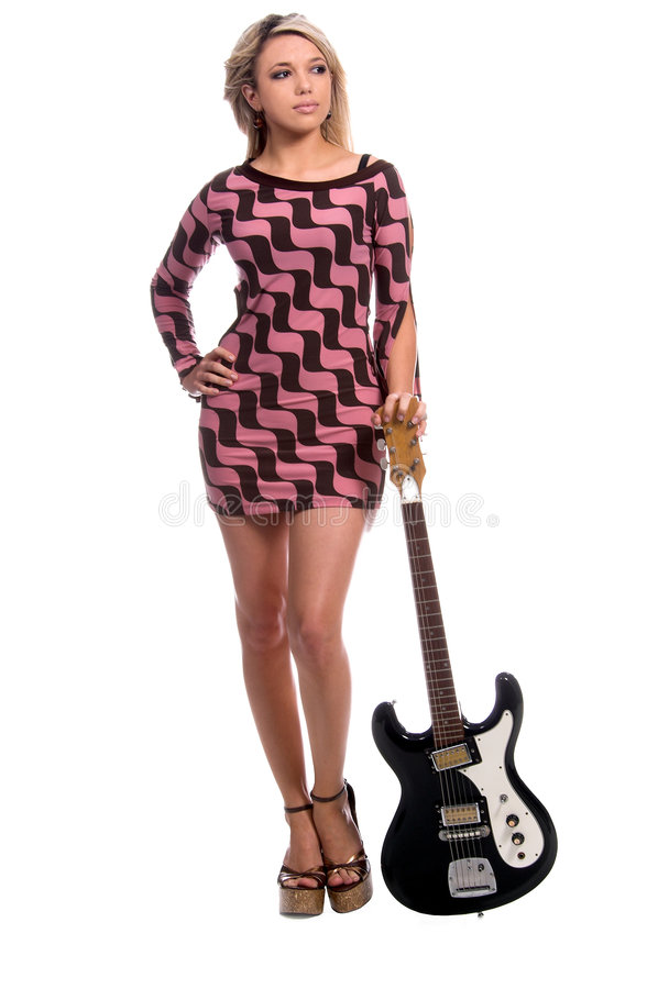 Rétro guitare sexy image libre de droits