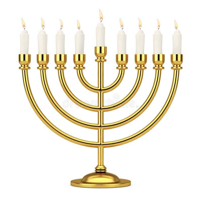 Rétro Hanoucca d'or Menorah avec les bougies brûlantes rendu 3d illustration de vecteur