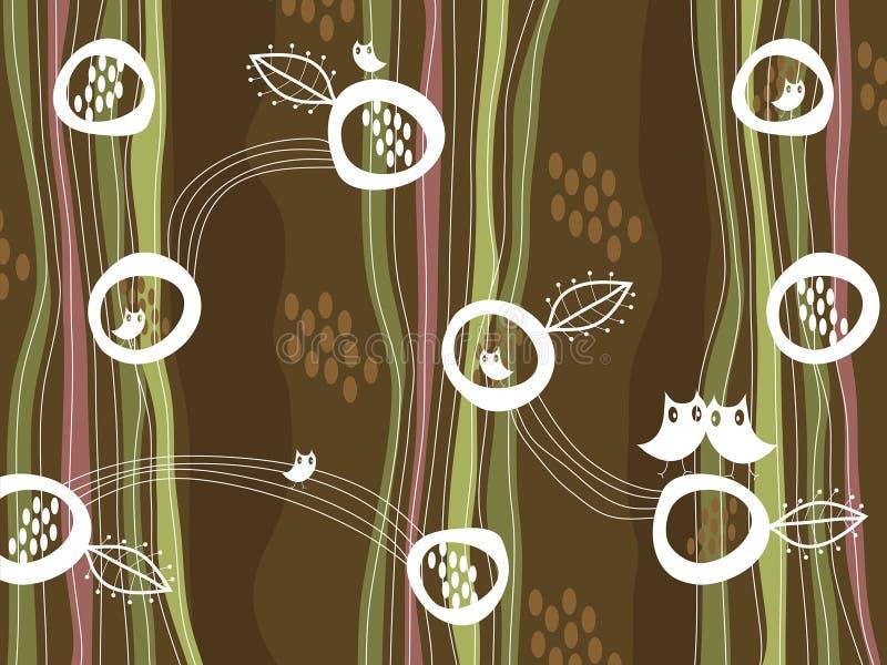 Rétro hiboux et emboîtement sur le brun illustration de vecteur