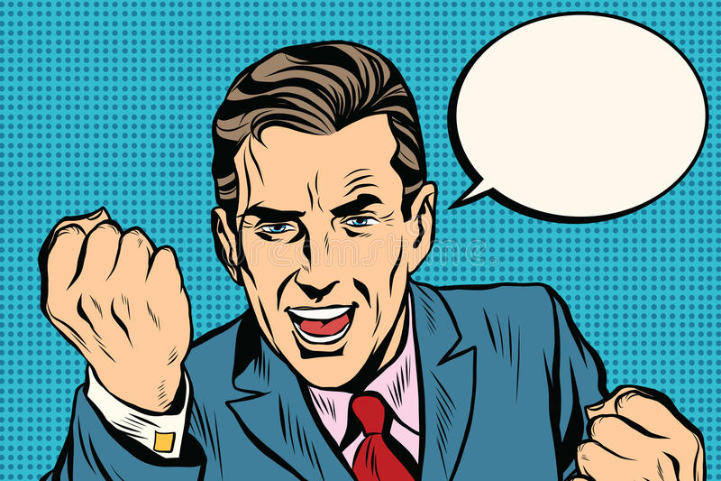 Rétro homme d'affaires charismatique de haut-parleur illustration de vecteur