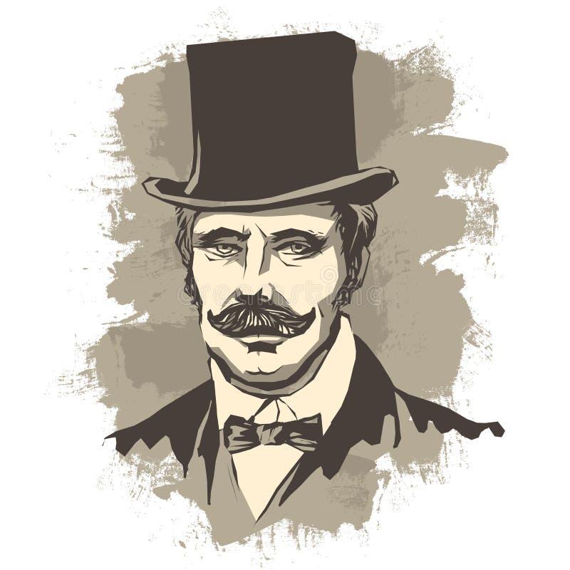Rétro homme d'affaires solide avec la moustache, dans un chapeau supérieur de noeud papillon et de chapeau illustration stock