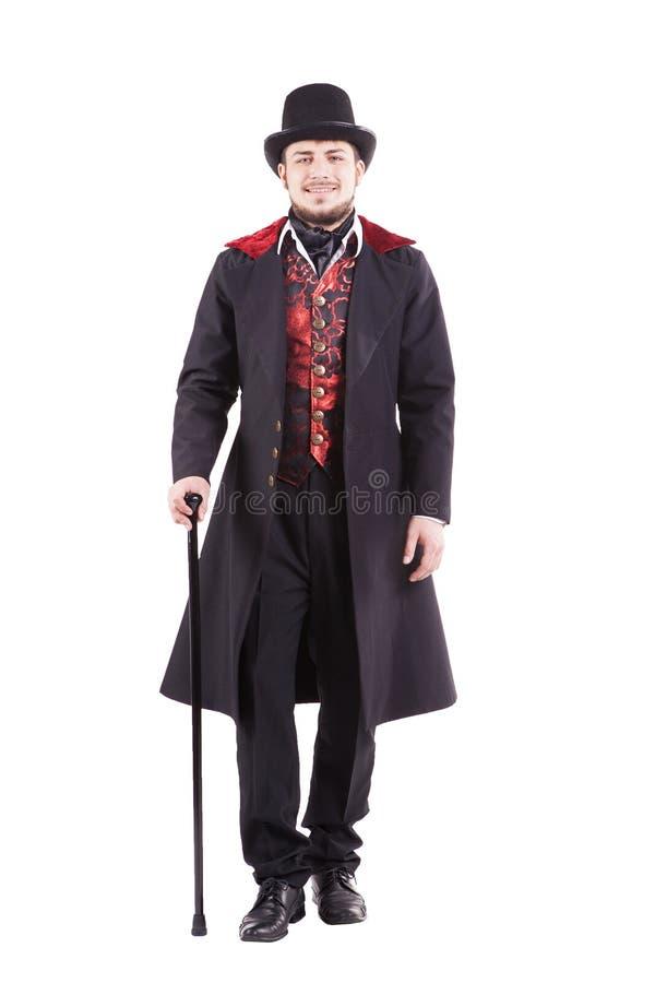 Rétro homme de mode avec la barbe portant le costume noir photo libre de droits