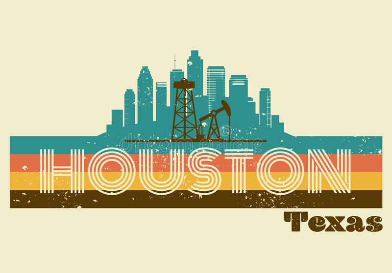 Rétro horizon d'huile d'art de conception de T-shirt de Houston Texas illustration de vecteur