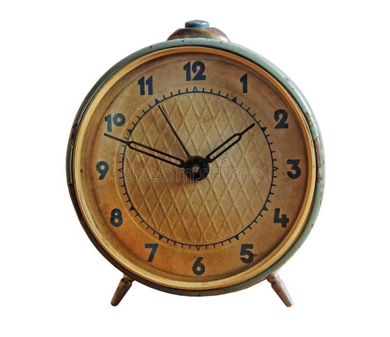 Rétro horloge d'alarme d'isolement sur le blanc photo libre de droits