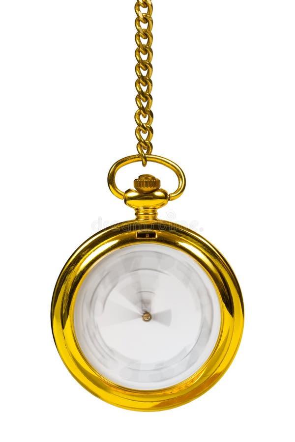 Rétro horloge d'or - temps passant le concept photo stock