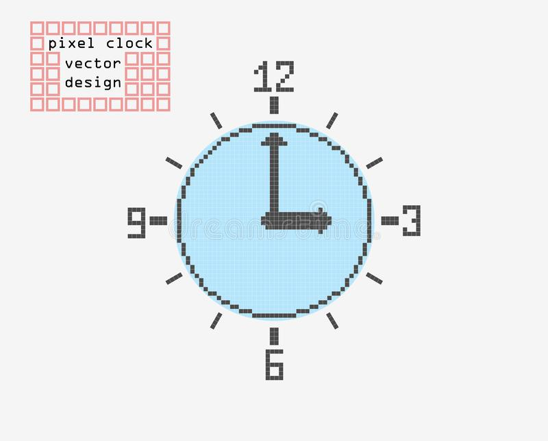 Rétro horloge de pixel Icône plate de vecteur de style Fond clair d'isolement illustration libre de droits