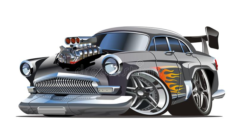 Rétro hot rod de bande dessinée illustration de vecteur