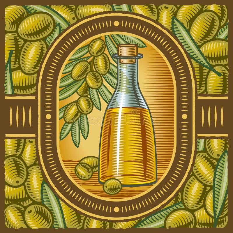 Rétro huile d'olive illustration de vecteur
