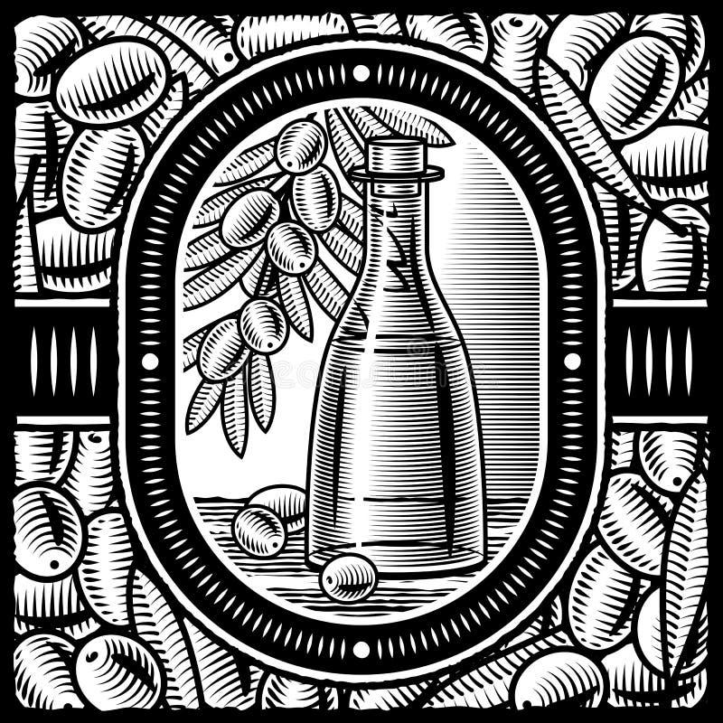 Rétro huile d'olive noire et blanche illustration libre de droits