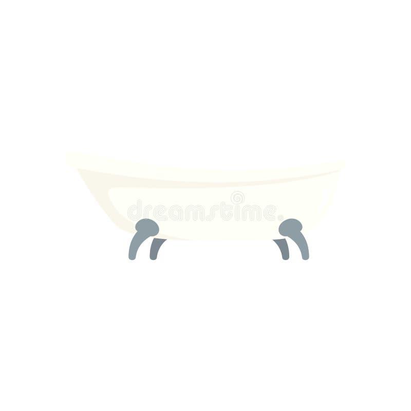 Rétro icône de bathtube, style plat illustration stock