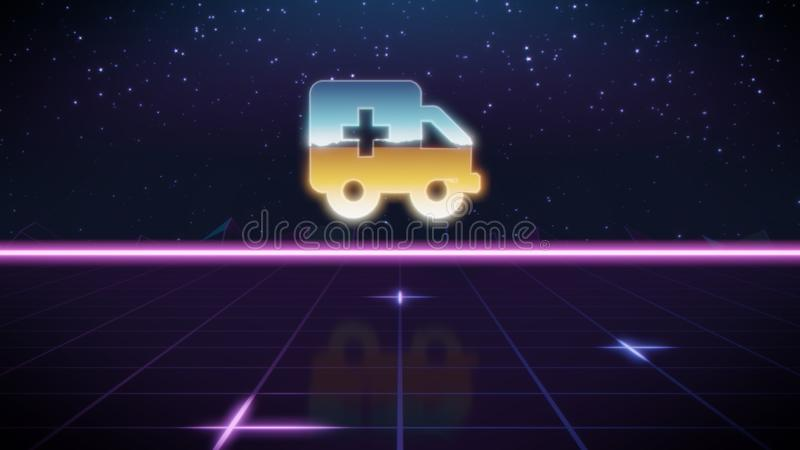 rétro icône de conception de synthwave d'ambulance illustration libre de droits