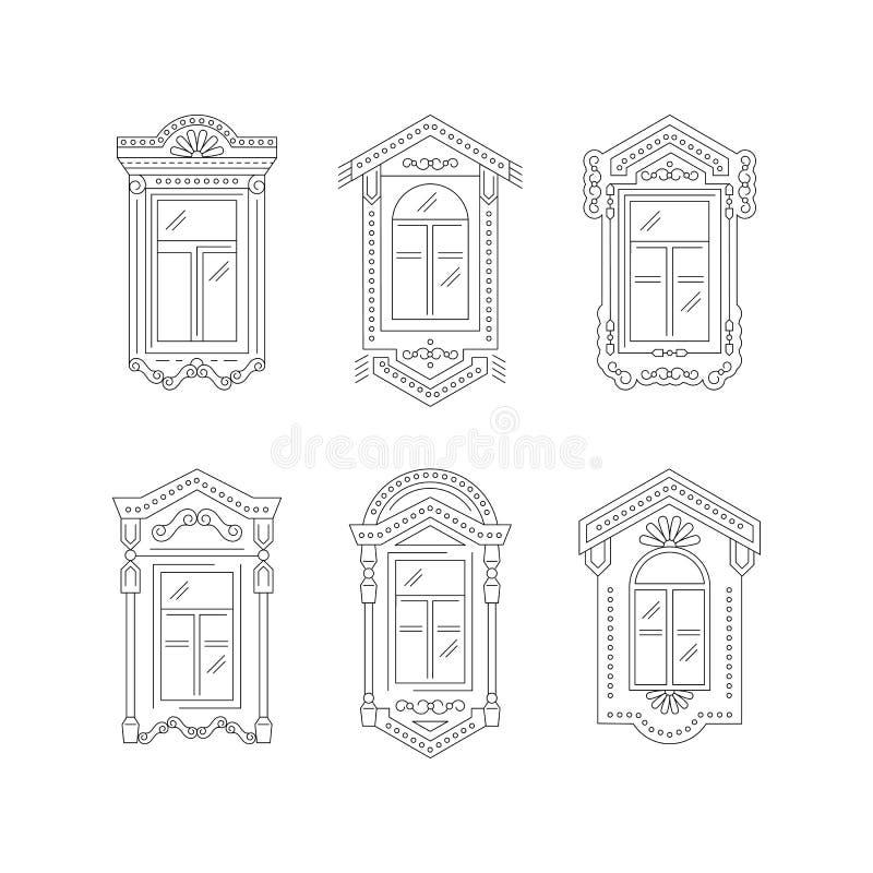 Rétro icône de fenêtre, cadres de vintage de fenêtre Symboles d'isolement sur un fond blanc Conception de schéma, illustration de illustration stock