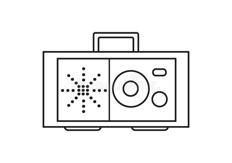 Rétro icône par radio dans la découpe illustration libre de droits
