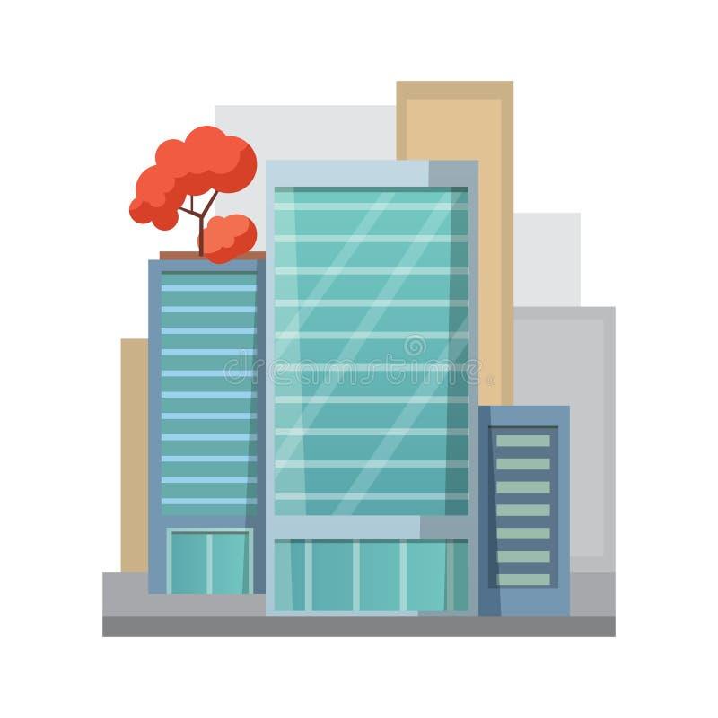 Rétro icône plate de Chambre de ville bâtiment de ville ou résidentiel privé Appartement moderne illustration stock