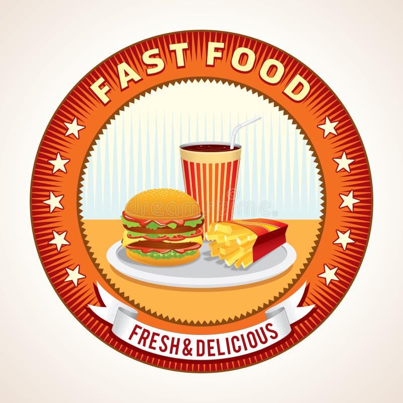 Rétro icône abstraite d'aliments de préparation rapide illustration de vecteur