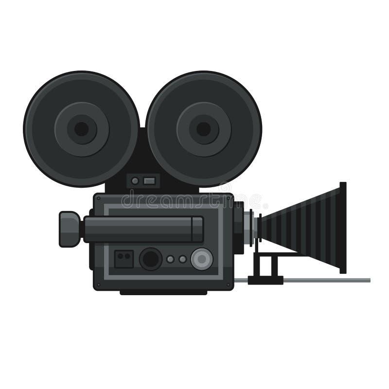 Rétro icône de caméra vidéo de film sur le fond blanc Vecteur illustration stock