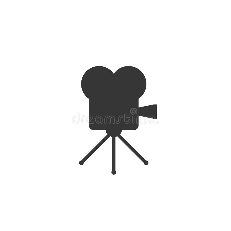 Rétro icône de cinéma d'isolement sur le fond blanc Vieux projecteur de film illustration de vecteur