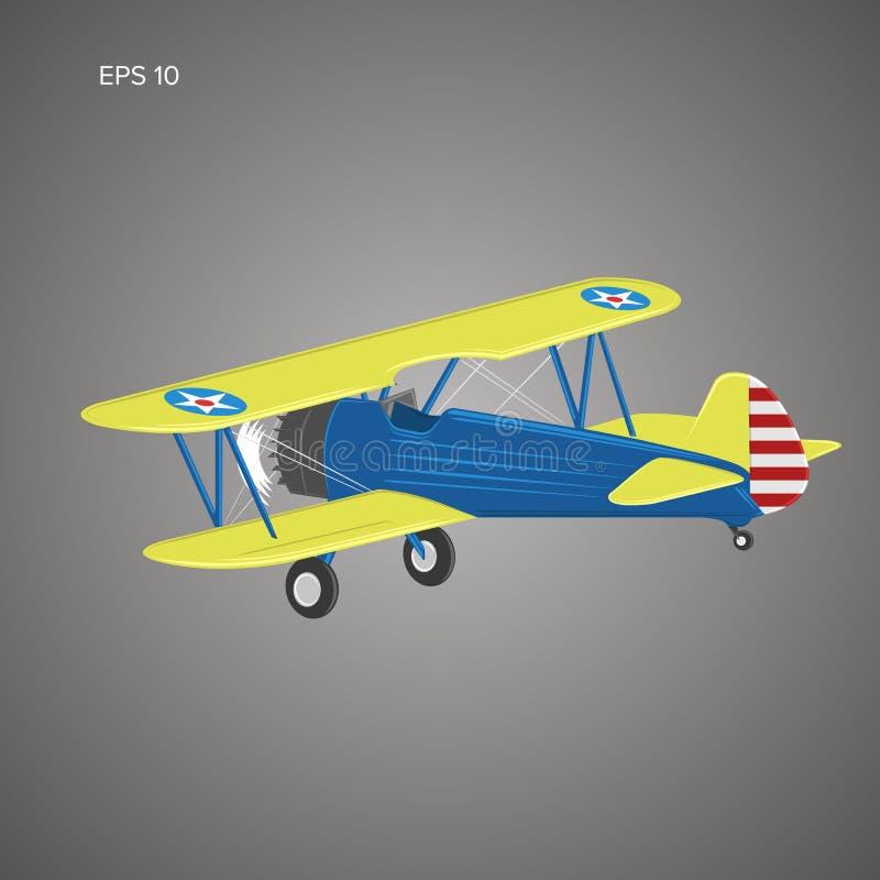 Rétro illusration de vecteur plat de biplan Avion de moteur à piston de vintage illustration stock