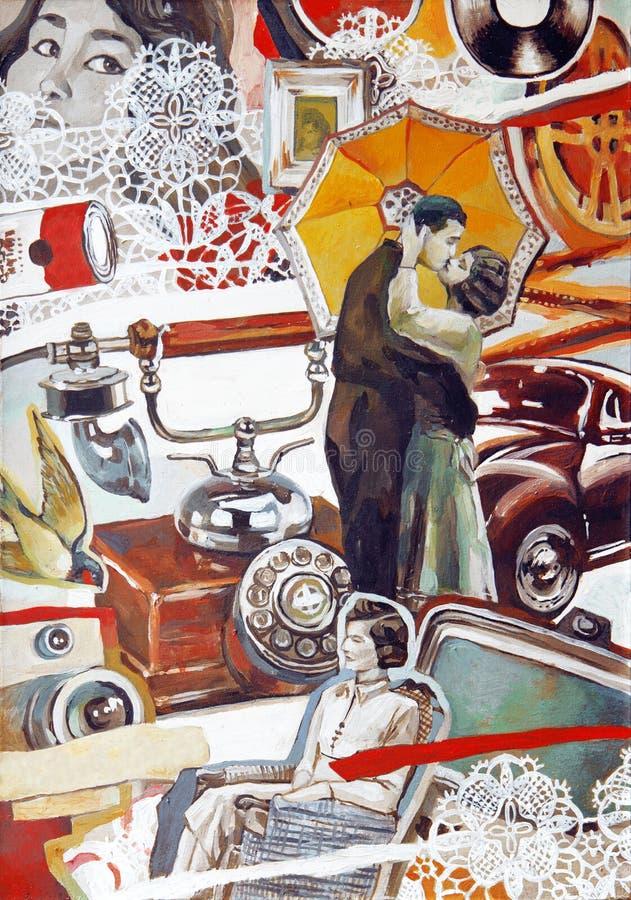 Rétro illustration à l'ancienne de collage d'huile avec de jeunes couples illustration stock