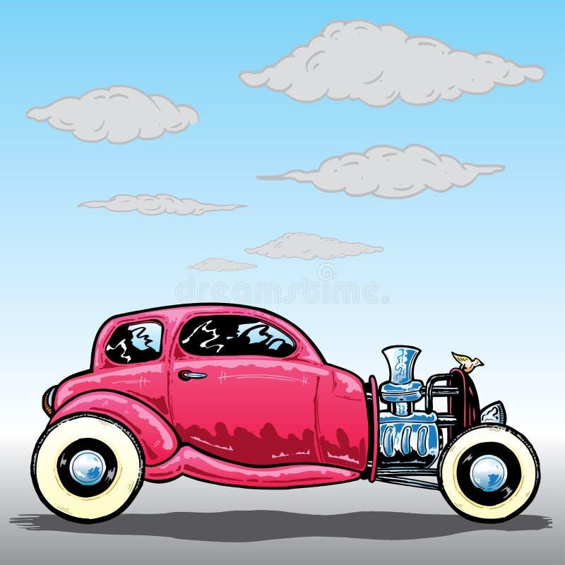 Rétro illustration de véhicule de Hotrod de type illustration libre de droits