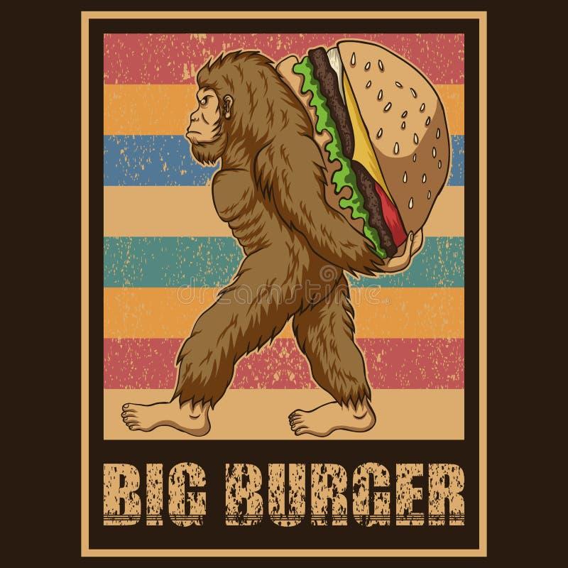 Rétro illustration de vecteur d'hamburger de Bigfoot illustration de vecteur