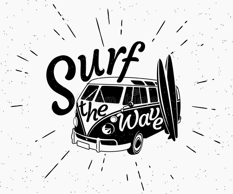 Rétro illustration noire et blanche de Van surf illustration stock