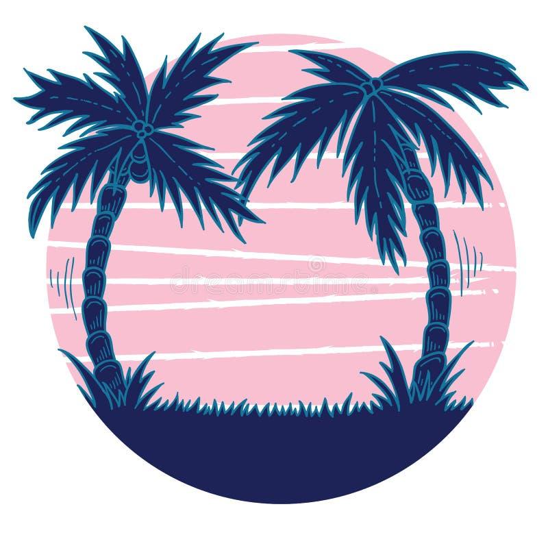 Rétro illustration tirée par la main de vawe de coucher du soleil rose avec les palmiers bleus illustration de vecteur