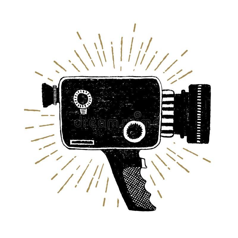 Rétro illustration tirée par la main de vecteur de caméscope illustration stock