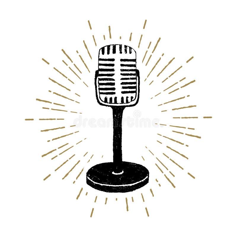Rétro illustration tirée par la main de vecteur de microphone illustration libre de droits