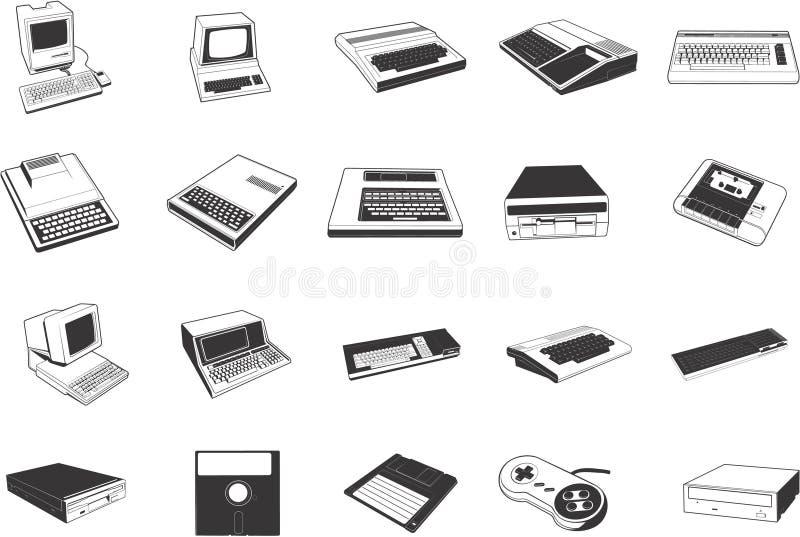 Rétro illustrations d'ordinateur illustration de vecteur