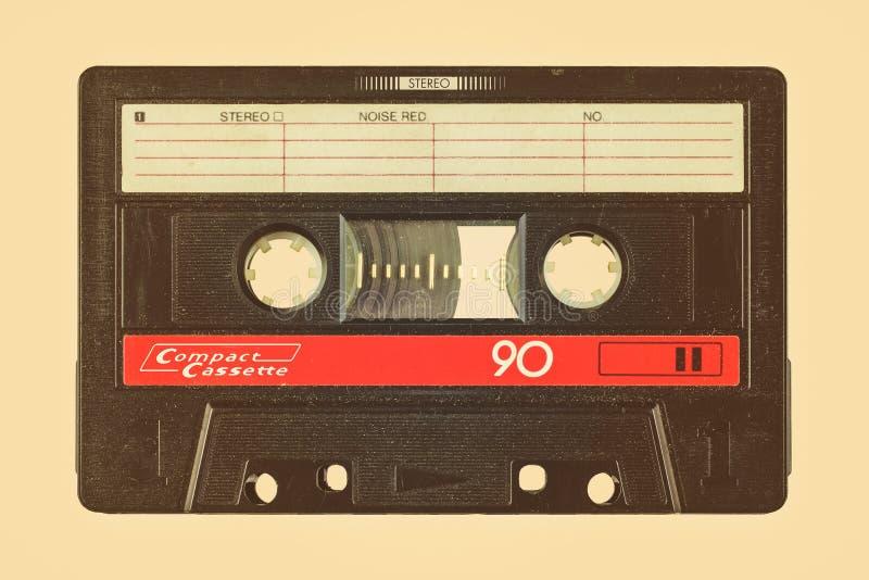 Rétro image dénommée d'une vieille cassette compacte images libres de droits