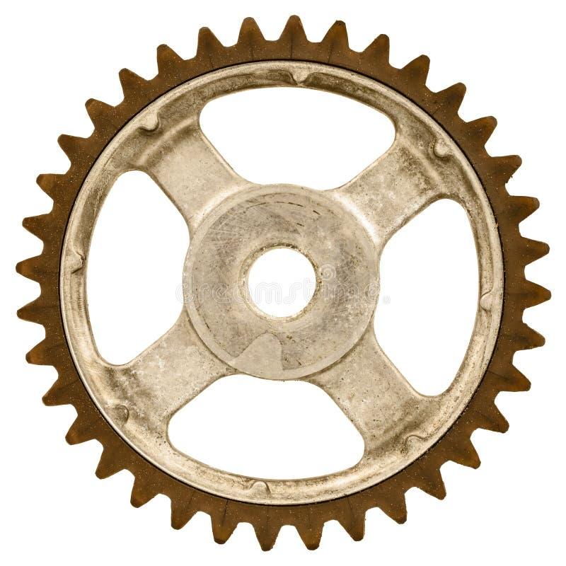 Rétro image dénommée d'une vieille roue de vitesse d'isolement sur le blanc photographie stock