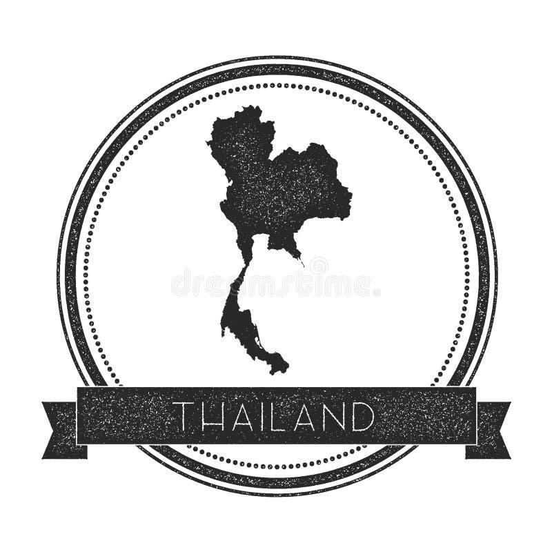 Rétro insigne affligé de la Thaïlande avec la carte illustration stock