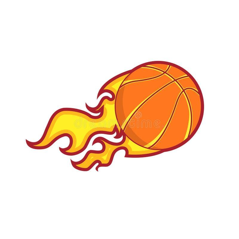 Rétro insigne de basket-ball du feu de vol de couleur illustration libre de droits