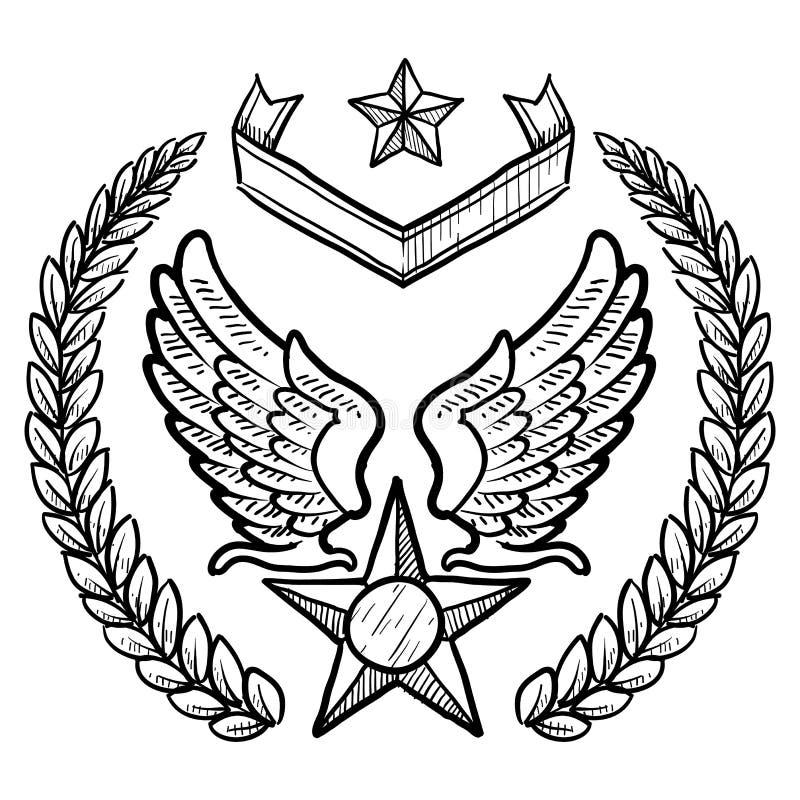 Rétro insignes de l'Armée de l'Air d'USA avec la guirlande illustration libre de droits