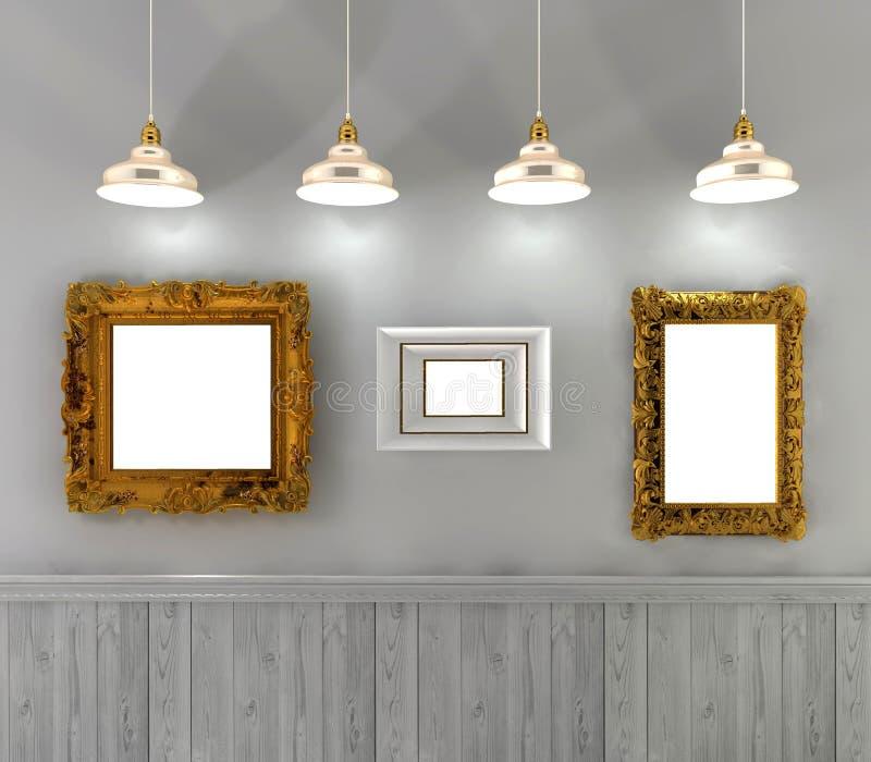 rétro intérieur avec les peintures vides dans le cadre et des lampes d'or ci-dessus photo libre de droits