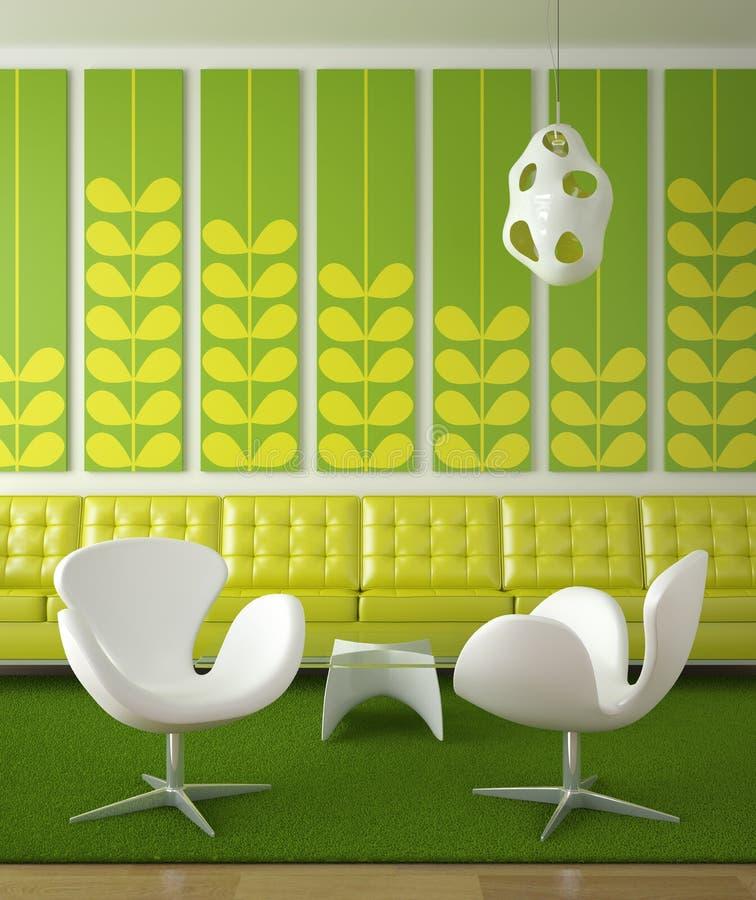 rétro intérieur vert de conception illustration de vecteur