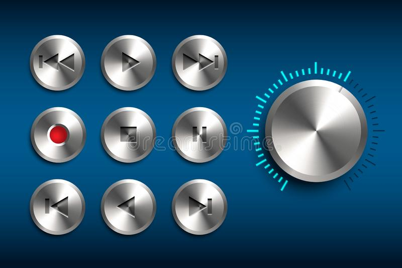 Rétro interface de technique Ensemble de vecteur de boutons en métal d'isolement sur le fond bleu illustration de vecteur