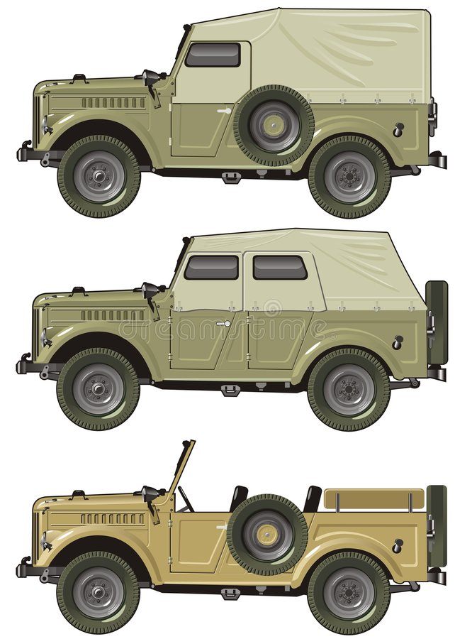 Rétro jeep de vecteur illustration stock