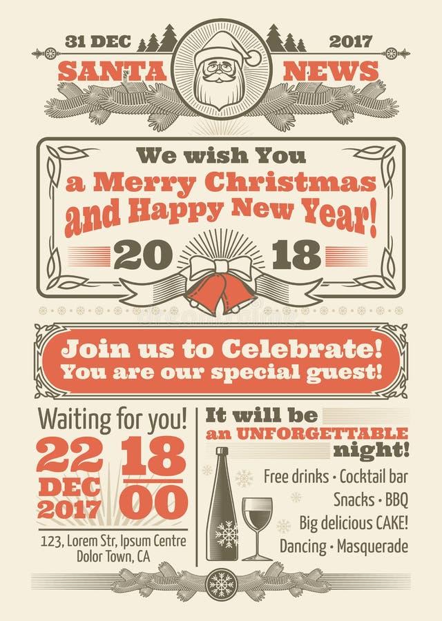 Rétro journal de Noël avec la décoration de fête de vecteur de typographie et d'hiver de Noël illustration stock