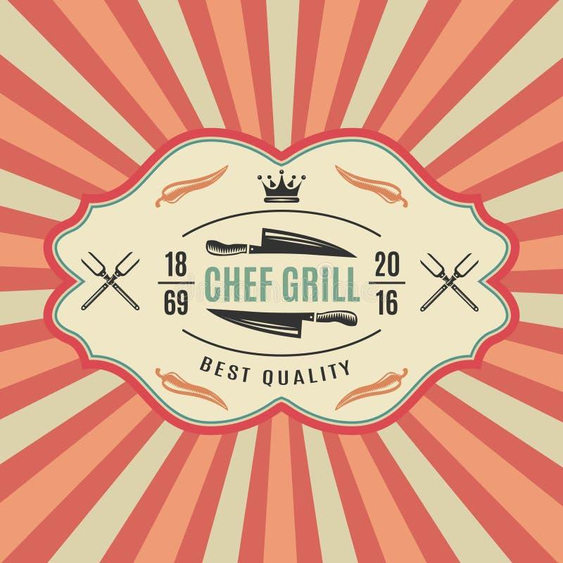 Rétro label de BBQ illustration de vecteur
