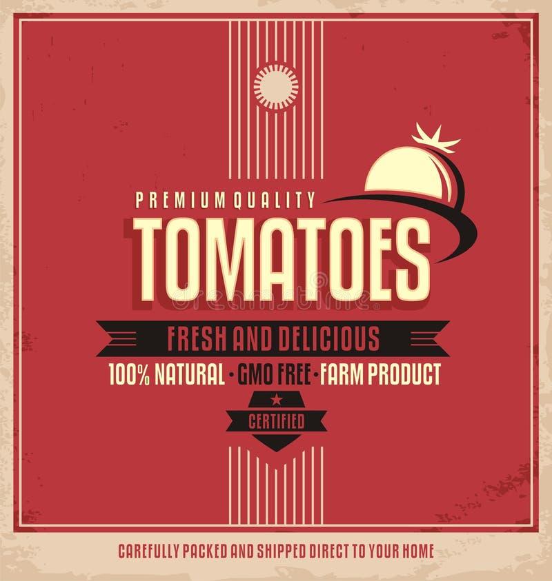 Rétro label de logo de tomates illustration stock