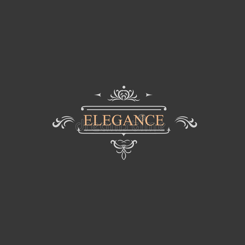 Rétro label de vintage et logo de luxe, restaurant illustration libre de droits