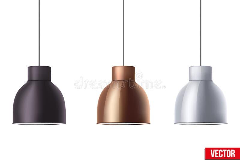 Rétro lampe élégante métallique de cône de plafond illustration libre de droits