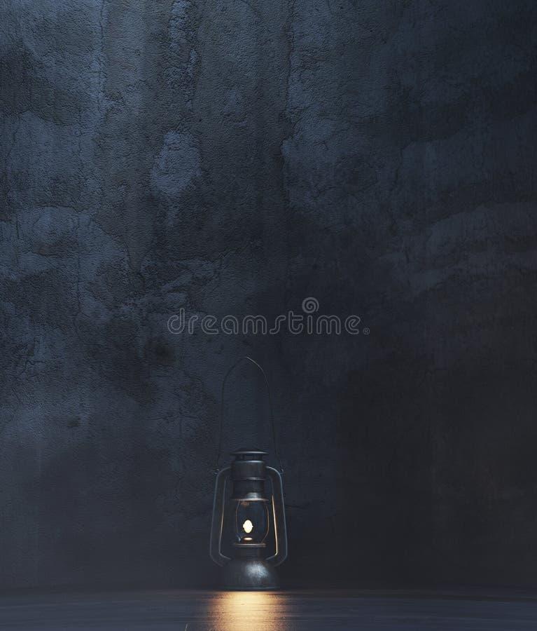 Rétro lanterne dans une chambre noire ou un asile illustration libre de droits