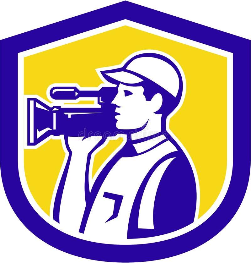 Rétro latéral visuel d'appareil-photo de Film Crew HD de cameraman illustration de vecteur